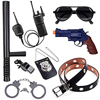 Police Accessories Role Play Set for Kids with Police Badge Gun Belt Handcuffs Baton Sunglasses Walkie Talkie Whistle Police Toys Birthday Gifts Police Officer Costume Dress Up for Boys Girls