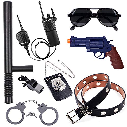 Police Accessories Role Play Set for Kids with Police Badge, Gun, Belt, Handcuffs, Baton, Sunglasses, Walkie Talkie, Whistle Police Toys Birthday Gifts Police Officer Costume Dress Up for Boys Girls
