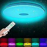LED Deckenleuchte RGB Dimmbar mit Fernbedienung, 24W Ø35cm Sternenhimmel Rund Deckenlampe Farbwechsel, für Kinderzimmer Schlafzimmer Wohnzimmer, Warmweiß Naturweiß Kaltweiß 3000-6500K