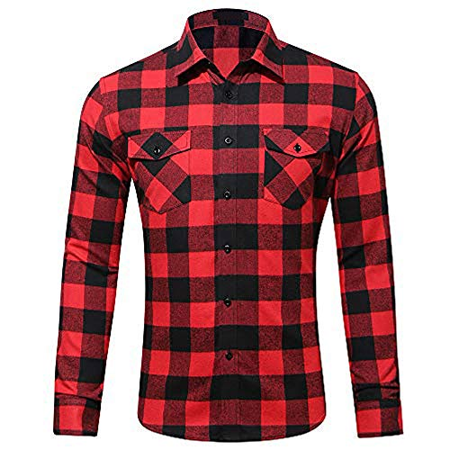 MCEDAR Men's Plaid Flannel Shirts-Long Sleeve Casual Button Down Slim Fit Outfit for Camp Hanging Out or Work (S, RED)