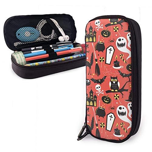 XCNGG Happy Halloween Vector Bleistiftetui mit großer Kapazität Organizer Storage Pencil Bag Pen Pouch Briefpapier mit Reißverschluss für School College Student Girls Boys