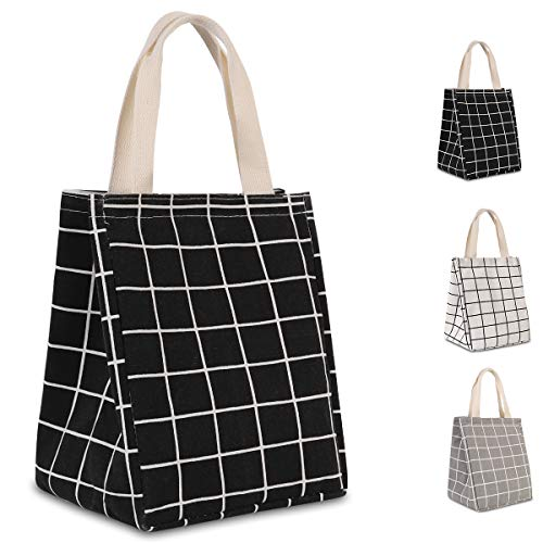 HOMESPON Reusable Lunch Bag Insulated Lunch Box Canvas Fabric with Aluminum Foil, Lunch Tote Handbag for Women,Men,School, Office (Black Checkered(long handle))