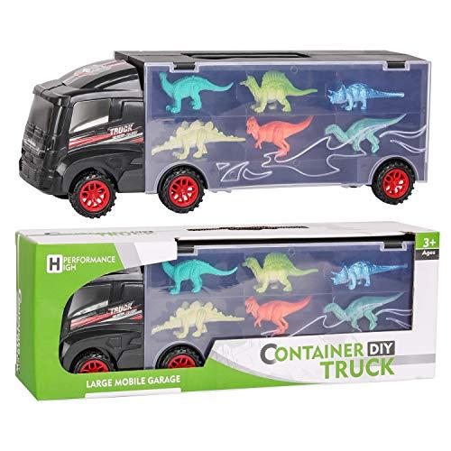 Camión Transportador de Dinosaurios y 12 Figuras de Juego Dinosaurios Jurassic Dino World Set,Coche de Juguetes de Dinosaurio Educativo Regalo para Cumpleaños y Días Festivos para Niños Niñas 3 Años