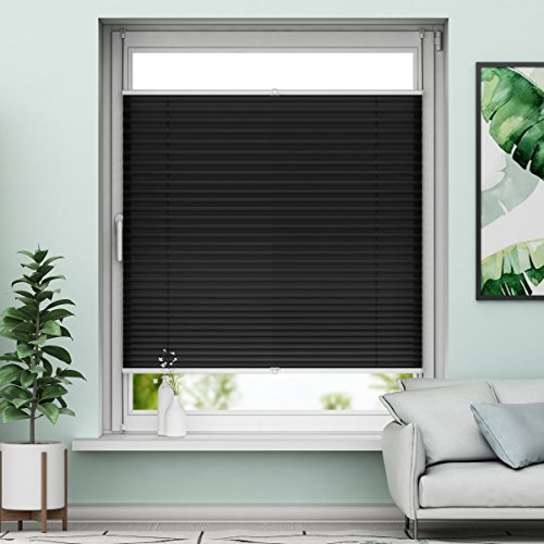 Plissee Klemmfix Rollo ohne Bohren - Schwarz - 90x130cm (BH) - Jalousie Faltrollo Sichtschutz und Sonnenschutz für Fenstern & Türn