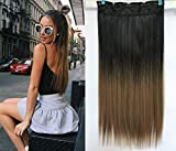 17' 20' 22' 25' Synthetic One Piece Straight Wavy Curly Clip in Ombre Hair Extensions (22Inches Straight, Black+Honey blonde)
