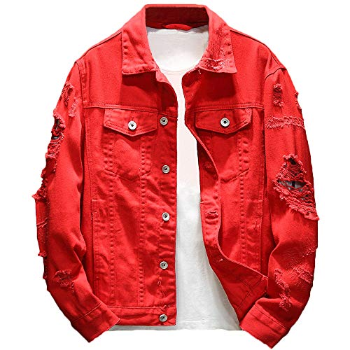 Rexcyril Men's Distressed Denim Jacket Casual Ripped Holes Button Down Trucker Jacket Jean Coat Red, Medium