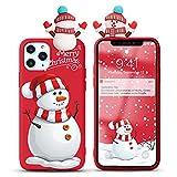 Yoedge Funda para Huawei Y6 2019 6,09', Navidad Carcasa Silicona Rojo con Dibujos Animados 3D Doll Toy, Suave Fina Antigolpes TPU Protector Case Cover Movil para Huawei Y6 2019, Muñeco de Nieve 2