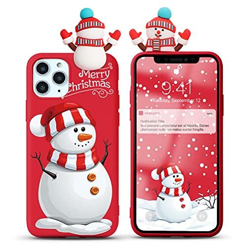 Yoedge Natale Custodia per Apple iPhone 7 Plus / 8 Plus 5,5',Rosso Silicone Matte Cover con Carino 3D Bambola Serie Natalizie,Sottile Antiurto TPU Protezione Case per iPhone 8 Plus,Pupazzo di neve 2