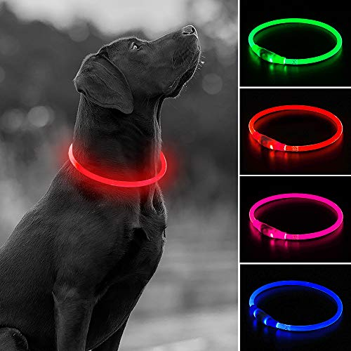 USB Rechargeable LED Dog Collar - Glow in The Dark Flashing TPU Pet Safety Collar, DIY Light Up Collars to Keep Your Dogs Be Visible& Safe When Night Dog Walking(Red)