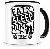 Samunshi® Taza con texto 'Eat sleep Hunt Repeat', regalo para cazadores, taza de café, taza de café, taza de café,...