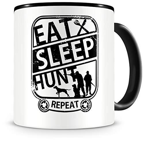 """Samunshi® Taza con texto """"Eat sleep Hunt Repeat"""", regalo para cazadores, taza de café, taza de café, taza de café, taza de cumpleaños, color negro, 300 ml"""