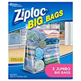 Ziploc Storage Bags, Double Zipper Seal & Expandable Bottom, Jumbo, 3 Count, Big Bag