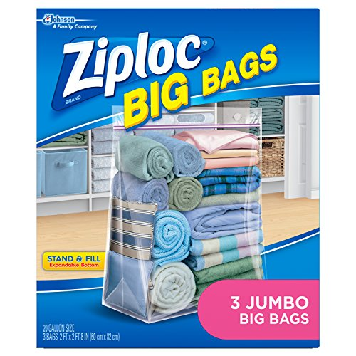Ziploc Storage Bags, Double Zipper Seal & Expandable Bottom,...