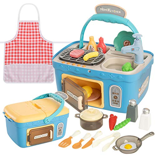 JOYIN Kids Play Kitchen Picnic Playset, Portable Picnic Basket Toys with Musics & Lights, Color Changing Play Food, Kitchen Sink Toys and Pretend Play Oven ,Kitchen Toy Sets Gift for Kids Boys Girls