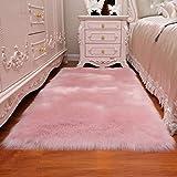 Haresle - Alfombra de piel sintética suave y esponjosa, antideslizante, para recámara, sala de estar, habitación de los niños, Rosado, 23.6x35.4 inch