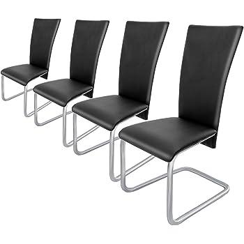 Deuba 4er Set Freischwinger Esszimmerstuhl Schwarz Schwingstühle Küchenstühle Esszimmer Küchenstuhl Esszimmerstühle Stuhlgruppe