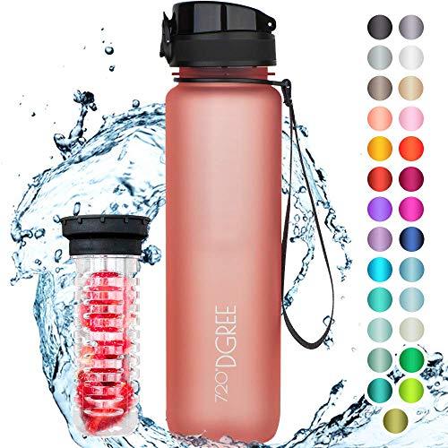 """720°DGREE Trinkflasche """"uberBottle"""" - 1 Liter, 1000ml, Pink - Neuartige Tritan Wasser-Flasche - Water Bottle BPA Frei - Ideale Sportflasche für Kinder, Fitness, Fahrrad, Sport, Fussball"""