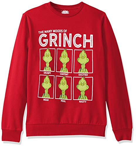 Dr. Seuss Men's Ugly Christmas Crew Sweatshirt, Moods/Red, Large