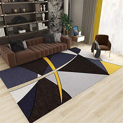 Kunsen 0 0 Azul Oscuro Gris líneas Amarillas geométrica Abstracta Alfombra Antideslizante fácil Limpieza de la Alfombra de Piso 0 140x200cm