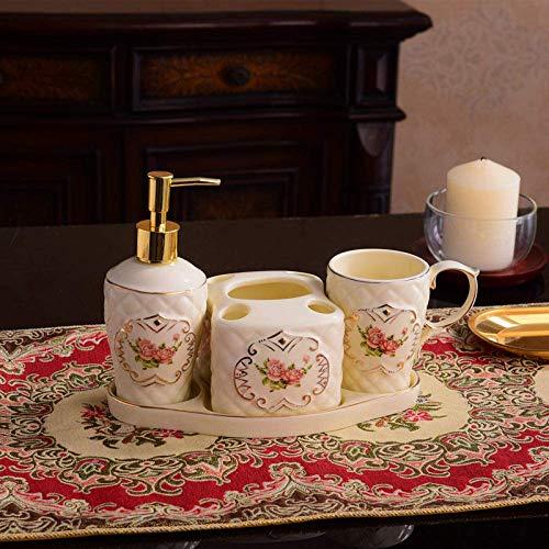 Accesorios de baño de cerámica de época surtidos, 4 piezas de color de rosa rosada rombo beige baño set de baño Decoración contienen dispensador de jabón, enjuague bucal Copa PC 1, Bandeja de tocador,