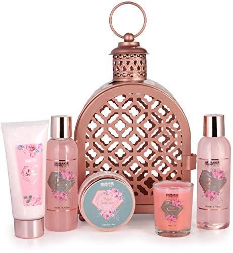 BRUBAKER Cosmetics Bade- und Dusch Set Rosenwasser Champagner - 6-teiliges Geschenkset im orientalischen Windlicht mit Duftkerze - Roségold