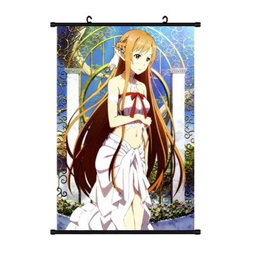 DMCMX Anime Game Character Hanging Gemälde Sword Art Online ALO Yuuki Asuna Titania Licht Elf wasserdichte Segeltuch Roller Plakat Wand Rolle Malerei perfekt for Feriengeschenke Wanddekoration