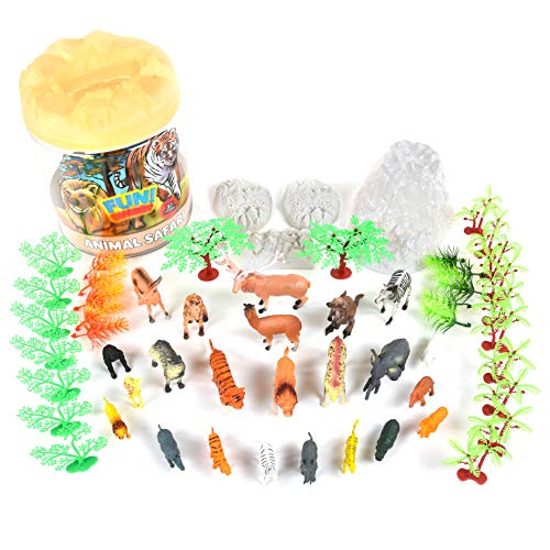 Sunny Days Entertainment Wild Animal Adventure Safari Bucket – 57 Piece Toy Play Set for Kids   Plastic Figures Playset with Storage Container