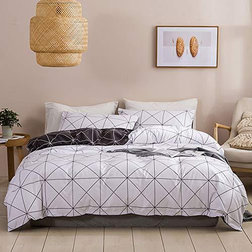N/C Bettwaesche 135x200 Microfaser Weiß Schwarz 2 Teilig Reißverschluss mit Muster Bettwäsche Kariert Weisse Bettüberzug + 1 Kissenbezug 80x80cm