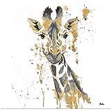 GREATBIGCANVAS Gold Water Giraffe Fine Art Poster Print, Home Decor Artwork, 24'x24'