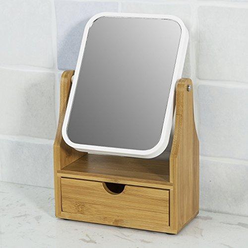 SoBuy® FRG245-N Kosmetikspiegel Schminkspiegel Tischspiegel mit Schublade, 360° Schwenkbar, Schminkschrank, Schmuckkästchen, bambus, BHT ca: 17x26x8cm