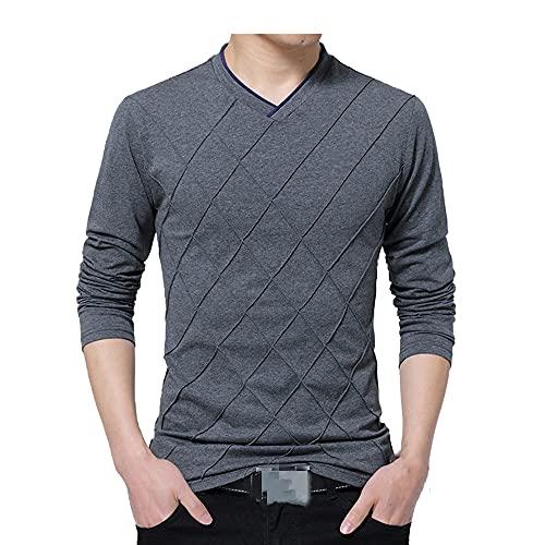 N\P Camiseta casual para hombre de moda delgada manga larga cuello fitness