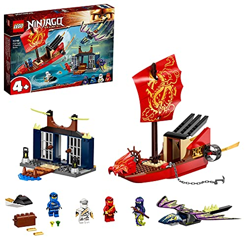 LEGO 71749 NINJAGO Flug mit dem Ninja-Flugsegler, Set mit Schiff und Figuren, darunter eine Drachen-Figur