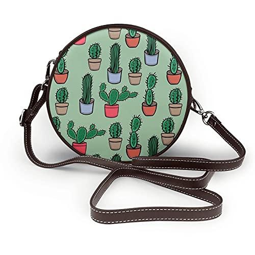 fepeng Pequeño bolso de hombro en forma redonda Cactus Circular Crossbody Bag Bolsas de hombro de cuero de microfibra, café, Talla única