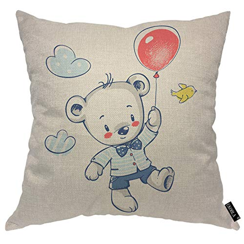 EKOBLA Bear Throw Pillow Covers Cute Adorable Animal Flying On A Balloon Yellow Bird Bow Cloud Red Blue Decorative Square Cushion Case for Merry Christmas Men Women Home Decor Cotton Linen 16x16 Inch