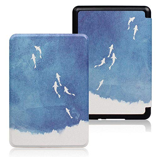 Caso para Kindle Paperwhite 4/3/2 Print - Auto Sleep Wake E-book Shell, Ultra-thin E-reader Protective Cover, portable E-reader Cover For Kindle 10th Hard Case For Kindle 8th, Fishes, for DP75SD