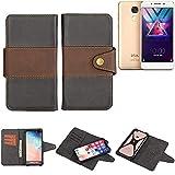 K-S-Trade® Handy-Hülle Schutz-Hülle Bookstyle Wallet-Case Für -Coolpad Cool S1- Bumper R&umschutz Schwarz-braun 1x
