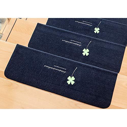 Treppenmatte Teppich Ausgelegte Treppenmatten Weiche, Rutschfeste, Selbstklebende Innenschutzfolien Set Mit 5 Teppichen Für Haustiere Waschbare Gummirücken Verschiedene Größe(Size:98x22cm,Color:Blau)