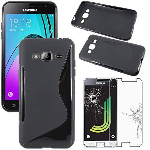 ebestStar - Cover Compatibile con Samsung J3 2016 Galaxy SM-J320F Custodia Protezione S-Line Silicone Gel TPU Morbida Sottile, Nero +Pellicola Vetro Temperato [Apparecchio: 142.3x71x7.9mm, 5.0'']