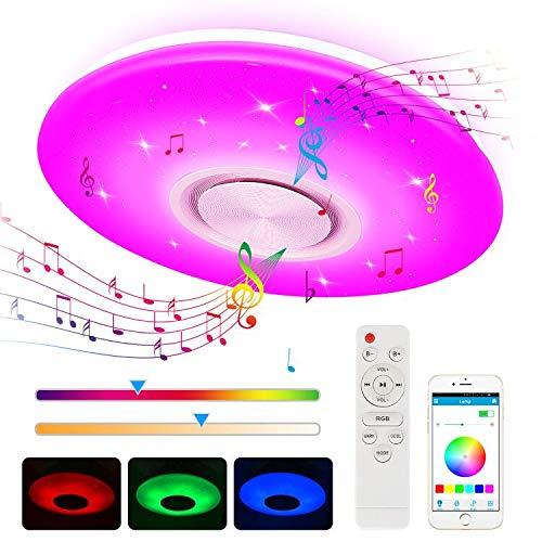 LED Deckenleuchte, Zorara 24W Deckenlampe mit Fernbedienung Bluetooth Lautsprecher, RGB Wohnzimmerlampe Dimmbar APP Steuerung Farbwechsel Kinderzimmerlampe 2700-6500K IP44 für Wohnzimmer Kinderzimmer