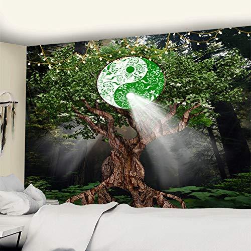 KHKJ Tapiz de árbol del Mundo para Colgar en la Pared, decoración Boho, tapices de Tela para Pared, Tapiz Hippie de Noche y Luna, Tapiz de Mandala, Alfombra de Pared A6 200x150cm