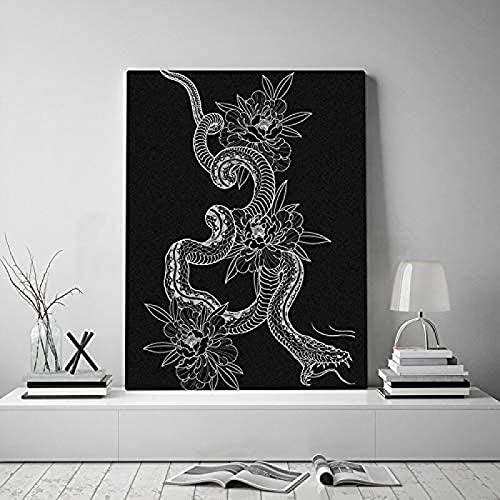 SXXRZA Cuadros de Pared 50x70cm Sin Marco Impresiones Imágenes de Ilustraciones Arte de la Pared Tatuaje de Serpiente Negra Totem Estética Reproducción Obra de Arte Abstracta para decoración d
