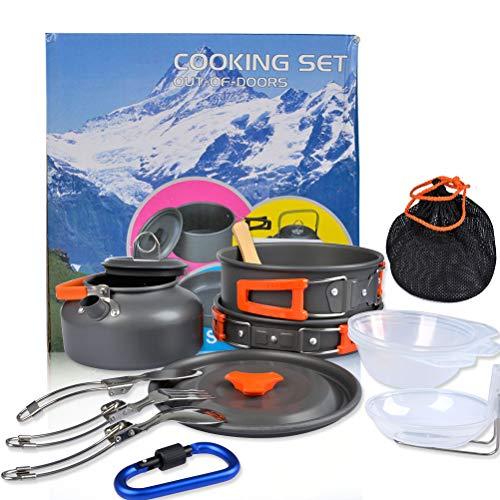 OFNMY Campinggeschirr Set Campingbesteck Camping Kochgeschirr Set 2-3 Personen Kochtopf 17-TLG Kochausrüstung für Outdoor Wandern Picknick