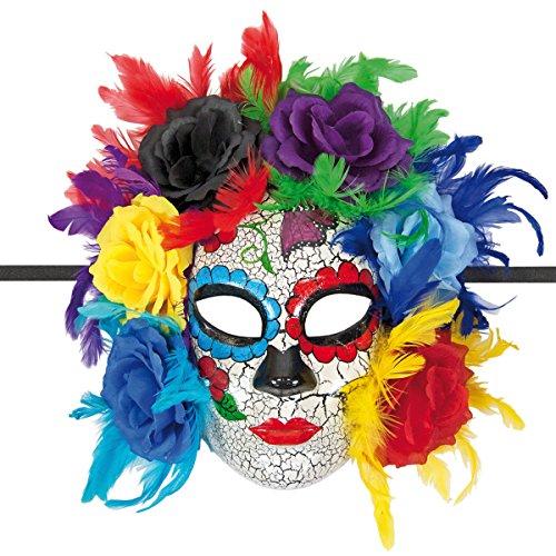 Decor Service masker met veren, bloemen en banden, karton, kleurrijk, 31 x 10 cm
