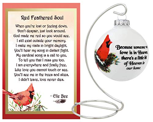 Lola Bella Gifts and Bronner's Because Someone is in Heaven Cardinal Ornament and Red Feathered Soul Poem Memorial Gift Set with Silver-Tone Stand and Gift Box