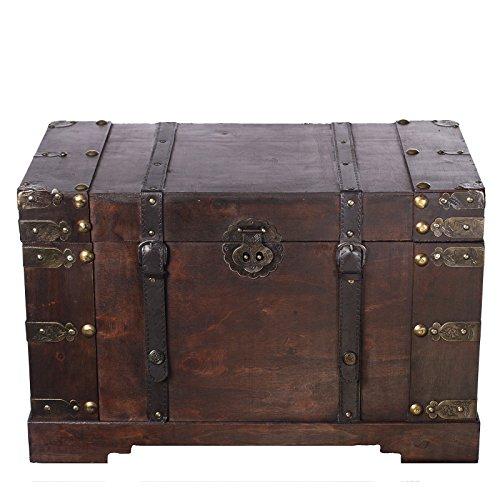 Holztruhe, Schatzkiste, Piratenkiste, mit Metallbeschlägen, Kolonialtruhe, mit Ornamenten und Lederriemen, 60x35x38cm - 2
