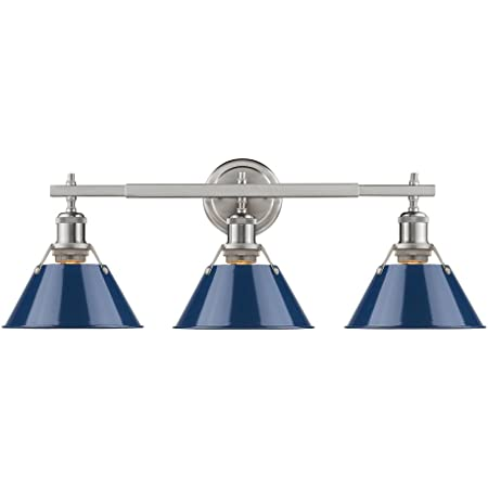 Golden Lighting 3306 Ba3 Pw Nvy Orwell Bath Vanity Pewter With Navy Blue Shade Amazon Com