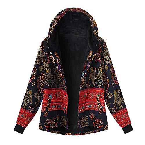 VEMOW Winter Herbst Heißer Frauen Damen Plus Größe Kapuzenjacke Langarm Vintage Casual Täglichen Freizeit Fleece Dicker Reißverschluss Mantel(Mehrfarbig, 46 DE/XL CN)