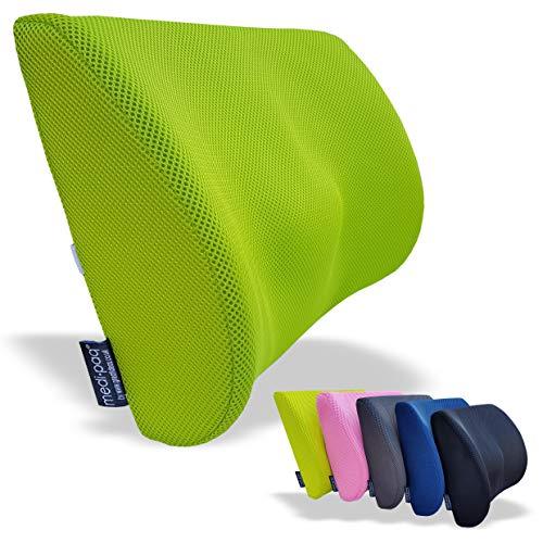 Medipaq – Cuscino Ortopedico Memory Foam per Supporto Lombare con Rete '3D' – con Circolazione d'Aria – Riduce il Mal di Schiena, Migliora la Postura [Versione Aggiornata 2018 – Ora con Cinghia Elastica Regolabile]