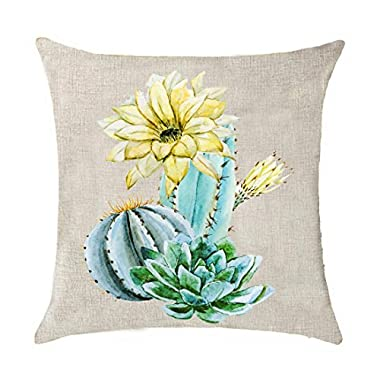 Bnitoam Art potted succulents Cactus flowers Mexican national flower Cotton Linen Throw Pillow covers Case Cushion Cover Sofa Decorative Square 18 inch (13)