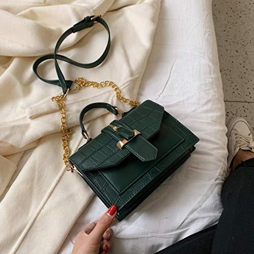 LOH Pierre Motif en Cuir Couleur Unie Bandoulière Sacs Femmes Chaîne Épaule Messenger Sac Lady Sacs À Main, Vert, 20 cm x 15 cm x 8 cm